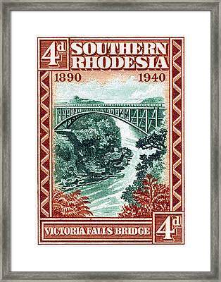 Framed Print featuring the painting 1940 Southern Rhodesia Victoria Falls Bridge  by Historic Image