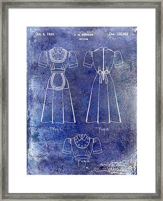 1940 Waitress Uniform Patent Blue Framed Print
