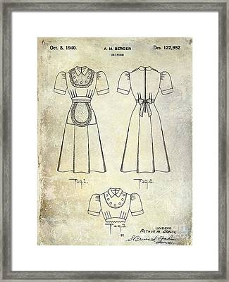 1940 Waitress Uniform Patent Framed Print