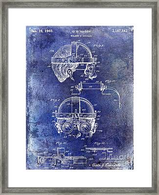 1940 Welders Goggles Patent Blue Framed Print