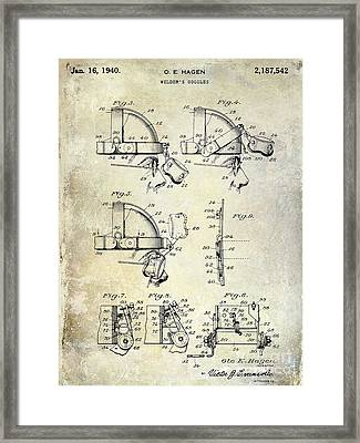1940 Welders Goggles Patent Framed Print