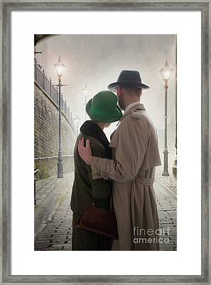 Framed Print featuring the photograph 1940s Couple At Dusk  by Lee Avison
