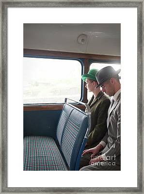 1940s Couple Sitting On A Vintage Bus Framed Print