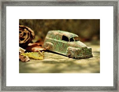 1940s Green Chevy Sedan Style Toy Car Framed Print by Rebecca Sherman