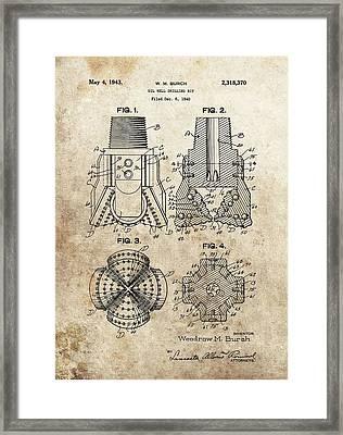 1940s Oil Drill Bit Patent Framed Print