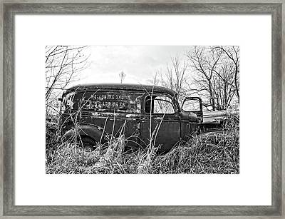 1940s Panel Truck Bnw Framed Print