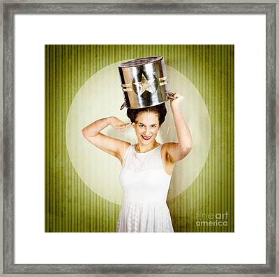 1940s Pin Up Woman In Army Cook Pot. Food Service Framed Print