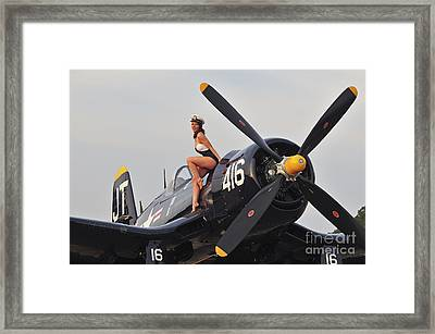1940s Style Navy Pin-up Girl Sitting Framed Print
