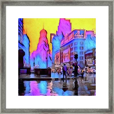 1940s Times Square Rain Framed Print by Susan Maxwell Schmidt