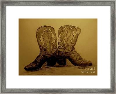1940's Viintage Cowboy Boots Framed Print by Susan Gahr