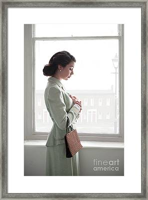 Framed Print featuring the photograph 1940s Woman At The Window by Lee Avison