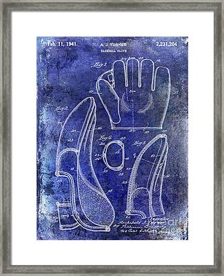 1941 Baseball Glove Patent Blue Framed Print