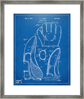 1941 Baseball Glove Patent - Blueprint Framed Print by Nikki Marie Smith
