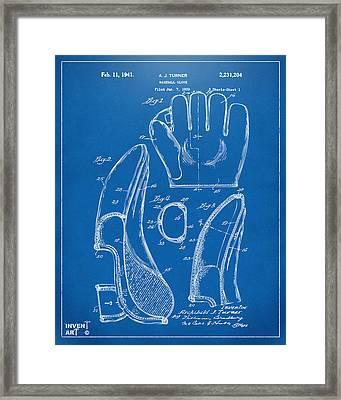 1941 Baseball Glove Patent - Blueprint Framed Print