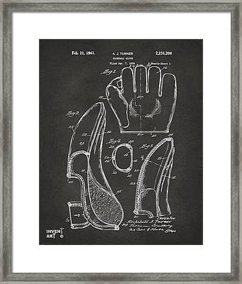 1941 Baseball Glove Patent - Gray Framed Print