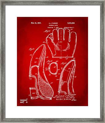 1941 Baseball Glove Patent - Red Framed Print by Nikki Marie Smith
