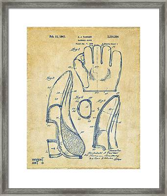 1941 Baseball Glove Patent - Vintage Framed Print by Nikki Marie Smith