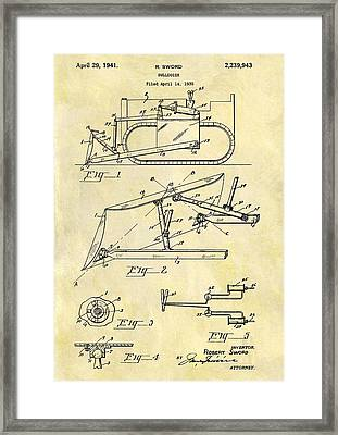 1941 Bulldozer Patent Framed Print by Dan Sproul