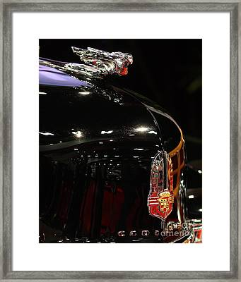 1941 Cadillac Series 62 Convertible Coupe . Hood Ornament And Badge Framed Print by Wingsdomain Art and Photography