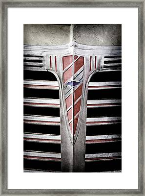 Framed Print featuring the photograph 1941 Chevrolet Grille Emblem -0288ac by Jill Reger