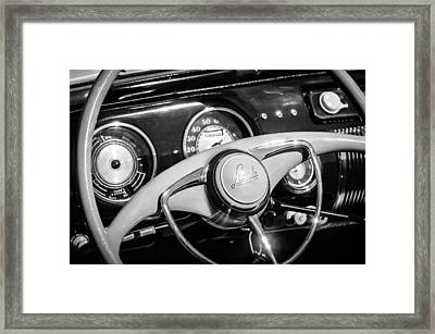 Framed Print featuring the photograph 1941 Lincoln Continental Cabriolet V12 Steering Wheel -226bw by Jill Reger