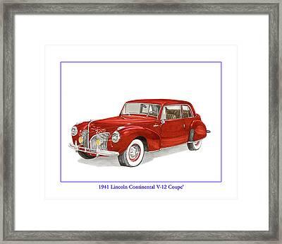 1941 Mk I Lincoln Continental Framed Print by Jack Pumphrey