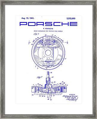 1941 Porsche Brake Mechanism Patent Blueprint Framed Print