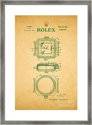 1941 Rolex Watch Patent 2 Framed Print