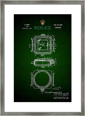 1941 Rolex Watch Patent 3 Framed Print by Nishanth Gopinathan