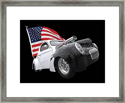 1941 Willys Coupe With Us Flag Framed Print