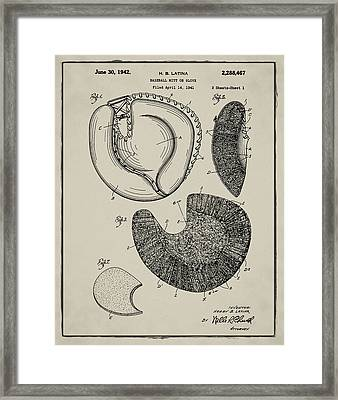 1942 Baseball Mitt Patent In Aged Gray Framed Print by Bill Cannon