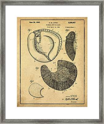1942 Baseball Mitt Patent In Sepia Framed Print by Bill Cannon
