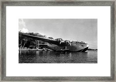 1942 China Clipper Flying Boat In Hawaii Framed Print by Historic Image