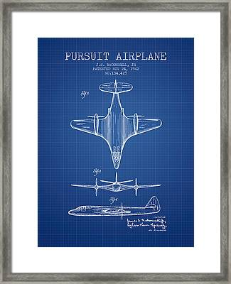 1942 Pursuit Airplane Patent - Blueprint 02 Framed Print by Aged Pixel