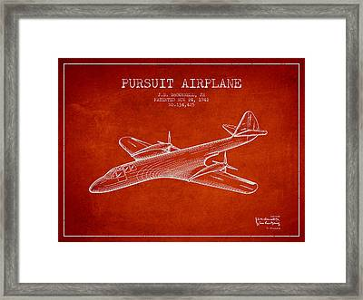 1942 Pursuit Airplane Patent - Red Framed Print by Aged Pixel