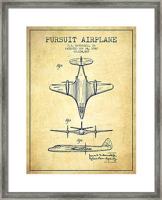 1942 Pursuit Airplane Patent - Vintage 02 Framed Print by Aged Pixel