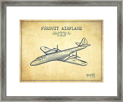1942 Pursuit Airplane Patent - Vintage Framed Print by Aged Pixel
