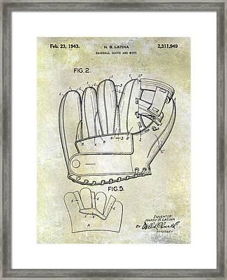 1943 Baseball Glove Patent Framed Print