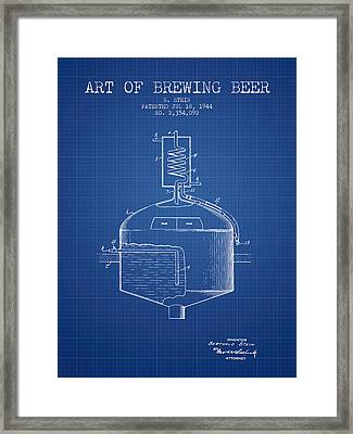 1944 Art Of Brewing Beer Patent - Blueprint Framed Print by Aged Pixel