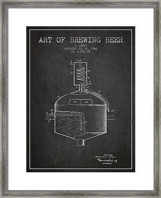 1944 Art Of Brewing Beer Patent - Charcoal Framed Print by Aged Pixel