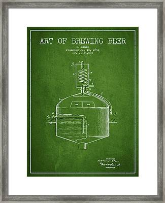 1944 Art Of Brewing Beer Patent - Green Framed Print by Aged Pixel