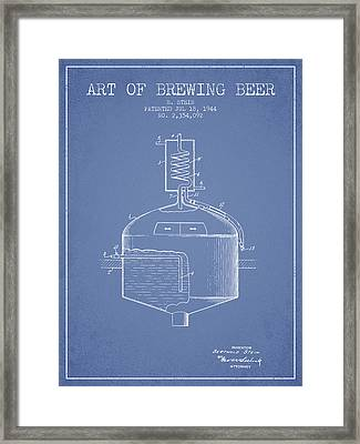 1944 Art Of Brewing Beer Patent - Light Blue Framed Print by Aged Pixel