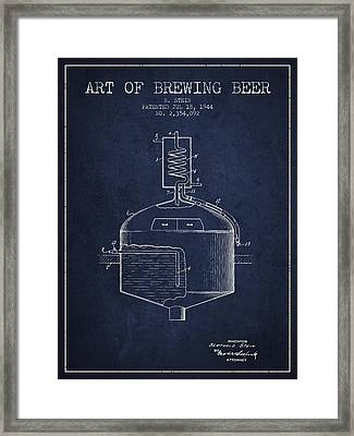 1944 Art Of Brewing Beer Patent - Navy Blue Framed Print by Aged Pixel