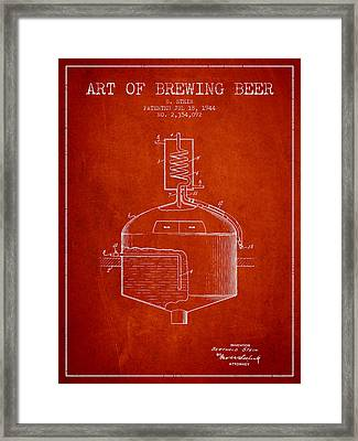 1944 Art Of Brewing Beer Patent - Red Framed Print by Aged Pixel