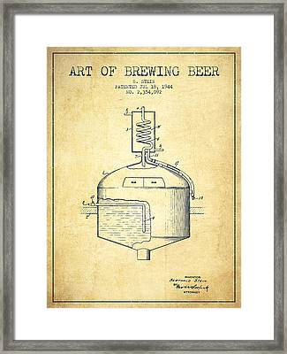 1944 Art Of Brewing Beer Patent - Vintage Framed Print by Aged Pixel