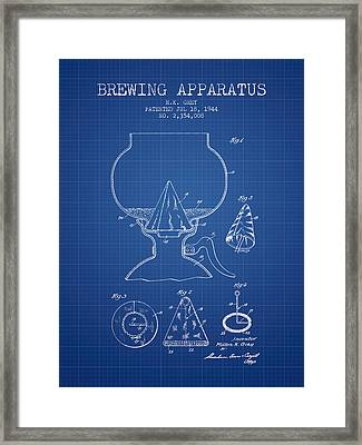 1944 Brewing Apparatus Patent - Blueprint Framed Print by Aged Pixel