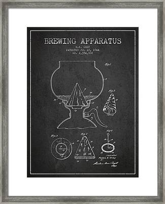 1944 Brewing Apparatus Patent - Charcoal Framed Print by Aged Pixel