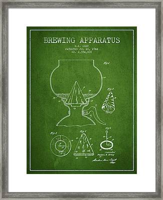 1944 Brewing Apparatus Patent - Green Framed Print by Aged Pixel