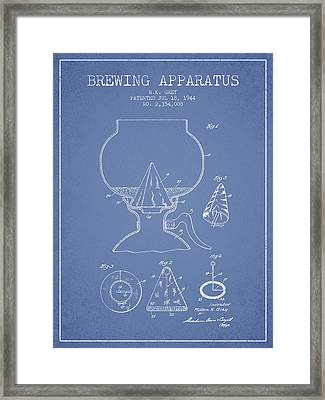 1944 Brewing Apparatus Patent - Light Blue Framed Print by Aged Pixel