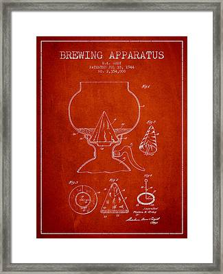 1944 Brewing Apparatus Patent - Red Framed Print by Aged Pixel